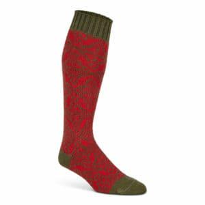 Norsk Mønster (Rød/grøn) Uldknæstrømpe