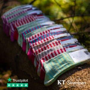 22 par stribede kvalitetsstrømper til en vild pris